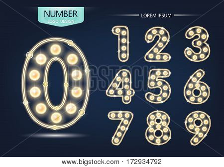 Number Lamp Template, Set Of Numbers Logo Or Icon