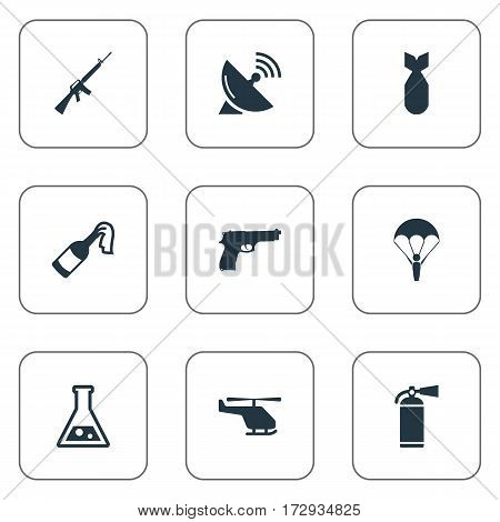 Set Of 9 Simple Terror Icons. Can Be Found Such Elements As Chemistry, Helicopter, Extinguisher And Other.