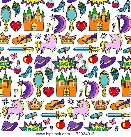 Fashion patch seamless pattern with magic and fairy tale objects isolated on white background. Pin badges and stickers collection. Colorful children wallpaper.