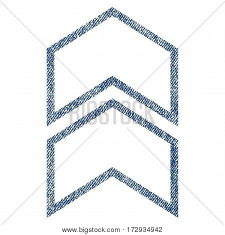 Shift Up vector textured icon for overlay watermark stamps. Blue jeans fabric vectorized texture. Symbol with scratched design. Blue ink rubber seal stamp with fiber textile structure.