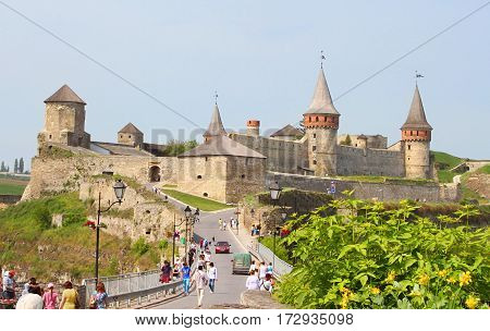 KAMIANETS-PODILSKYI, UKRAINE - MAY 21, 2011: Kamianets-Podilskyi castle in the morning, Ukraine. Kamianets-Podilskyi was first mentioned in 1062 as a town of the Kievan Rus' state