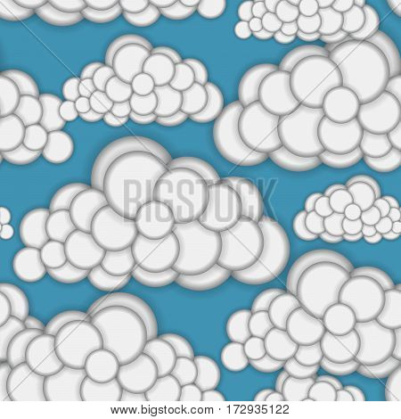 Seamless pattern with clouds. Convex round shapes. Spring sky. Cloudiness. Seasonal weather. Repeating background. Vector illustration eps10