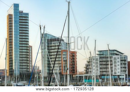 Tall buildings by Ocean Village Marina in Southampton