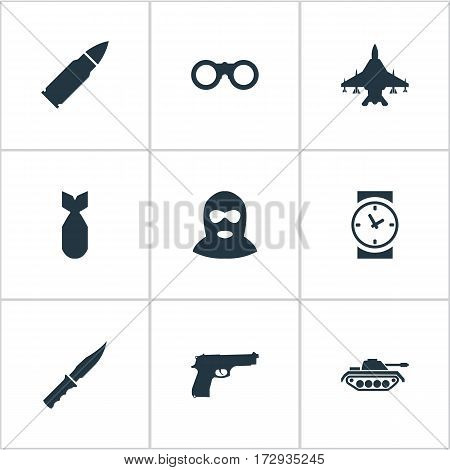 Set Of 9 Simple Terror Icons. Can Be Found Such Elements As Ammunition, Field Glasses, Heavy Weapon And Other.