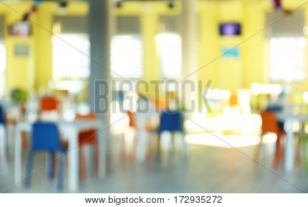 Blurred view of market dining room