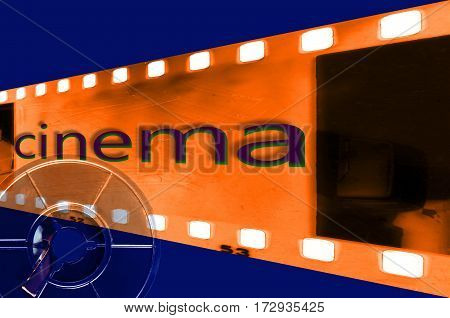 Vintage film strip frame with coil and
