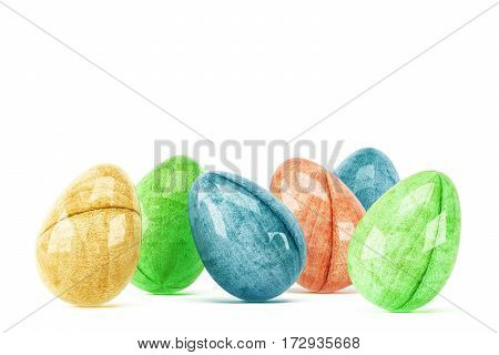 Colorful easter eggs isolated on white background. 3d rendering