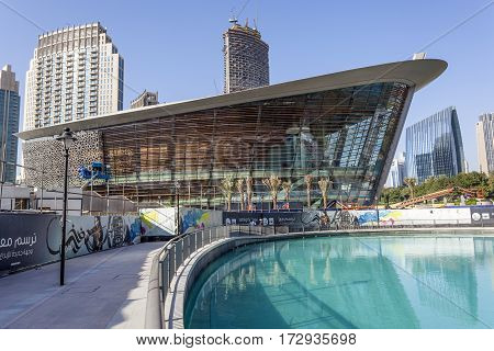 DUBAI UAE - NOV 27 2016: The new Dubai Opera House building. United Arab Emirates Middle East