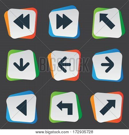 Set Of 9 Simple Pointer Icons. Can Be Found Such Elements As Indicator , Left Landmark , Pointer.