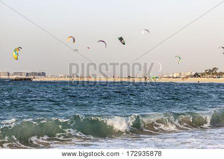 DUBAI UAE - NOV 27 2016: Kite surfer at the Jumeirah beach in Dubai. United Arab Emirates Middle East