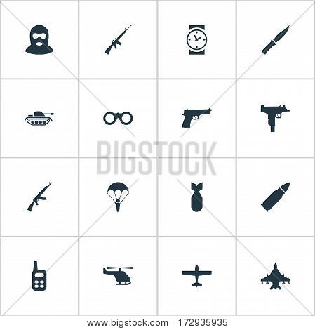 Set Of 16 Simple Army Icons. Can Be Found Such Elements As Pistol, Terrorist, Helicopter And Other.