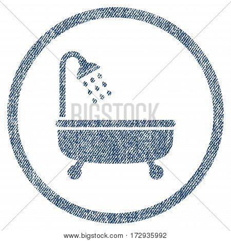 Shower Bath vector textured icon for overlay watermark stamps. Blue jeans fabric vectorized texture. Symbol with scratched design. Blue ink rubber seal stamp with fiber textile structure.
