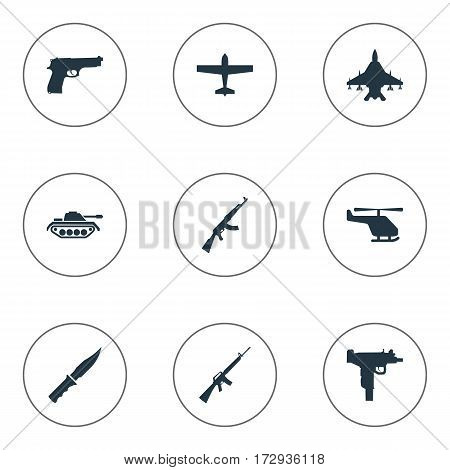 Set Of 9 Simple Military Icons. Can Be Found Such Elements As Helicopter, Rifle Gun, Pistol And Other.