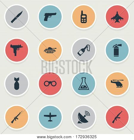 Set Of 16 Simple Army Icons. Can Be Found Such Elements As Kalashnikov, Nuke, Pistol And Other.