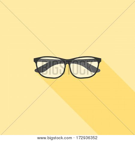 Eyeglasses , nerd and geek icon, flat design with long shadow