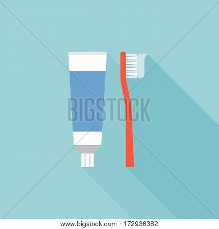 Toothbrush and toothpaste icon, flat design vector