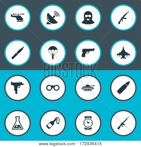 Set Of 16 Simple War Icons. Can Be Found Such Elements As Rifle Gun, Kalashnikov, Firearm And Other.