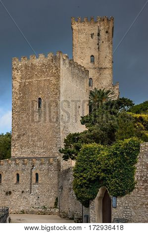 Erice Trapani Sicily Italy - Ancient stone Venus castle at the hilltop town