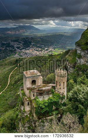 Erice, Trapani, Sicily, Italy - Torretta Pepoli And Panoramic View