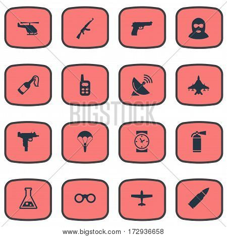 Set Of 16 Simple Military Icons. Can Be Found Such Elements As Ammunition, Paratrooper, Firearm And Other.