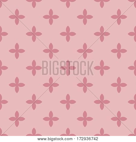 Abstract vector seamless pattern mosaic of black four leaf blooms in diagonal arrangement on white background. Simple flat natural design wallpaper.