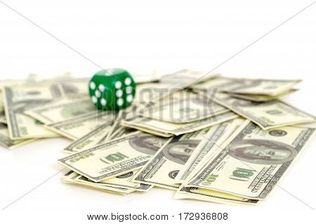 Kip dollars and dice on a white background