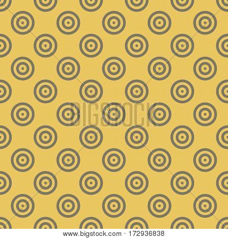 Abstract background seamless mosaic of concentric circles in diagonal arrangement on golden background. Retro design vector wallpaper.