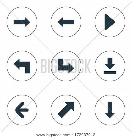 Set Of 9 Simple Indicator Icons. Can Be Found Such Elements As Right Landmark, Right Direction , Pointer.