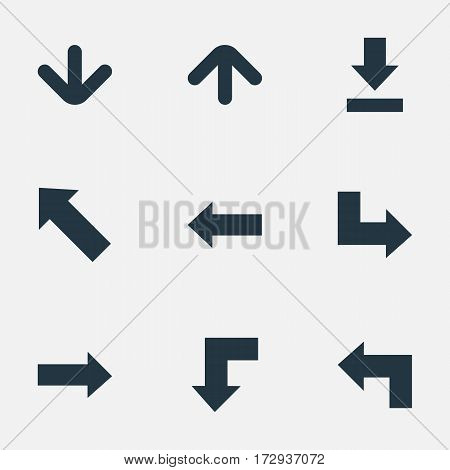Set Of 9 Simple Pointer Icons. Can Be Found Such Elements As Downwards Pointing, Reduction, Pointer And Other.