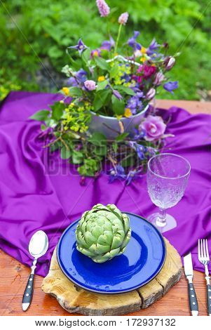 Wedding table setting decorated in rustic style. Close up