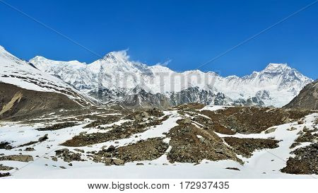 Beautiful panoramic view of the Cho-Oyu Mount on the way from Gokyo to Cho-Oyu basecamp. Everest trek.
