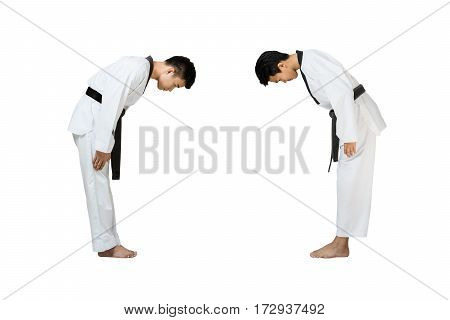 Portrait of two young handsome asian man with taekwondo black belt preparing for fight. Isolated full length on white background with copy space and clipping path