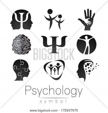 Modern Sign Set of Psychology. Creative style. Icon in vector. Grey color symbol on white background. Element for web, print, card.