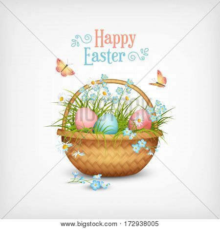 Happy Easter Card. Vector basket full of eggs and spring flowers and butterflies