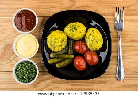 Baked Potatoes With Dill, Pickled Gherkins And Tomatoes, Greens, Sauces