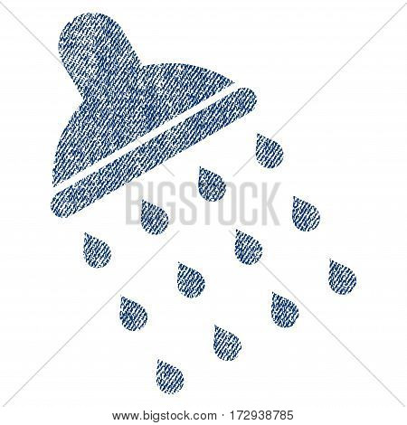 Shower vector textured icon for overlay watermark stamps. Blue jeans fabric vectorized texture. Symbol with unclean design. Blue ink rubber seal stamp with fiber textile structure.