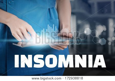 Nurse Touch Her Tablet With Insomnia Text Display.