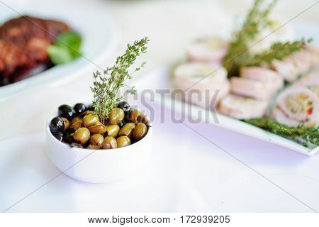 Delicious Olives Served On A Party Or Wedding Reception