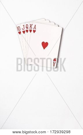 Poker hand rankings symbol set Playing cards in casino: Royal Flush on white background, luck abstract, vertical photo with copyspace