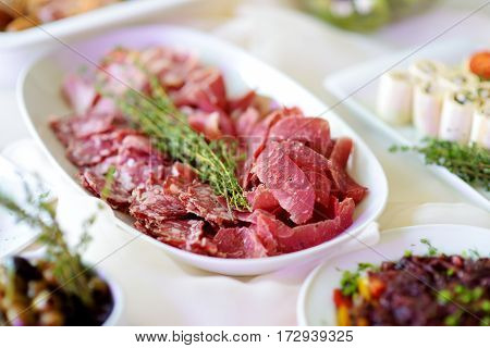 Delicious Assorted Wine Snacks Served On A Party Or Wedding Reception