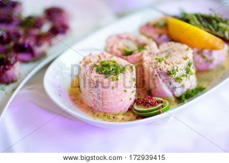 Delicious Fish Rolls With Vegetables Served On A Party Or Wedding Reception