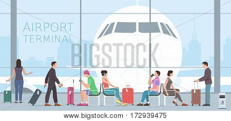Business People Travel Passenger Airport Terminal Concept. Flat design