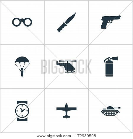 Set Of 9 Simple Army Icons. Can Be Found Such Elements As Extinguisher, Field Glasses, Cold Weapon And Other.