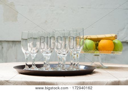 Closeup Image Of Empty Stemware Standing On A Black Tray