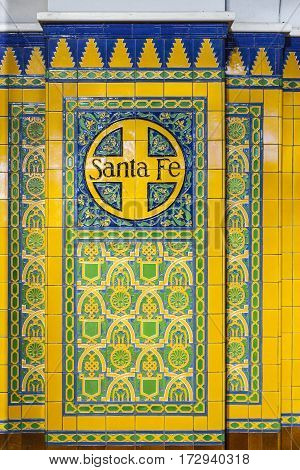 Name Santa Fe On Tiles With Old Decoration In The Union Train Station