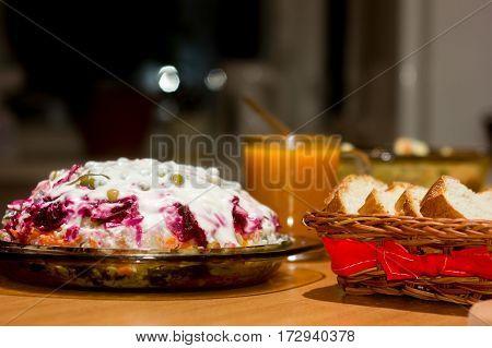 Beet Salad Vinaigrette On A Glass Plate