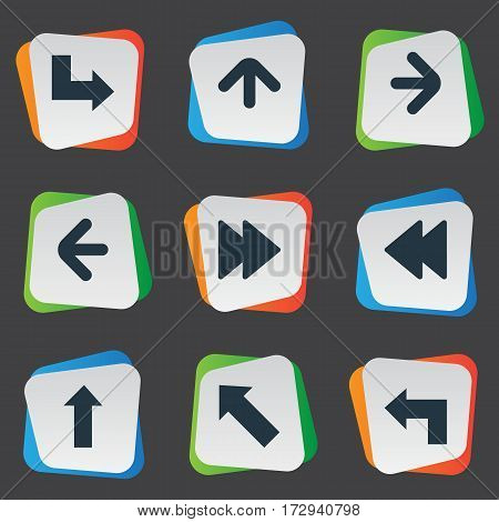 Set Of 9 Simple Arrows Icons. Can Be Found Such Elements As Pointer, Advanced, Upward Direction And Other.