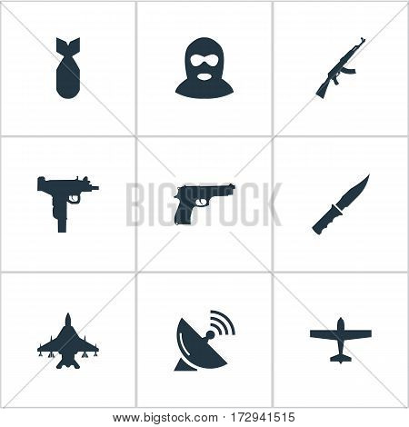 Set Of 9 Simple Military Icons. Can Be Found Such Elements As Air Bomber, Cold Weapon, Terrorist And Other.