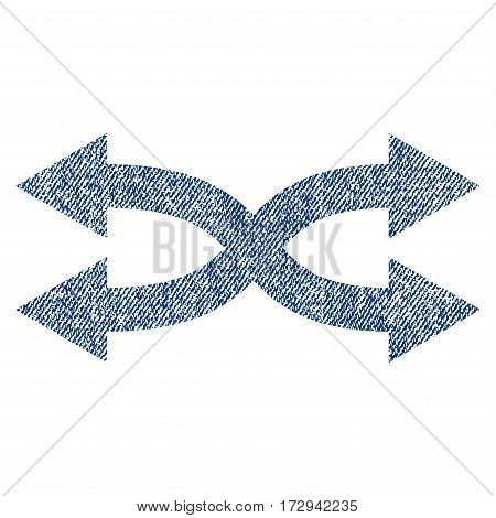 Shuffle Arrows Horizontal vector textured icon for overlay watermark stamps. Blue jeans fabric vectorized texture. Symbol with unclean design. Blue ink rubber seal stamp with fiber textile structure.