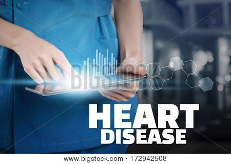 Nurse Touch Her Tablet With Heart Disease Text Display.